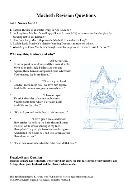 macbeth revision questions worksheet for 10th 11th grade lesson planet. Black Bedroom Furniture Sets. Home Design Ideas