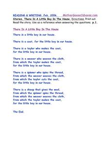 Reading & Writing: There is a Little Boy in the House Worksheet