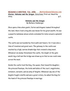 Nicholas and the Dragon Worksheet