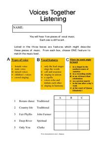 Voices Together Listening Worksheet