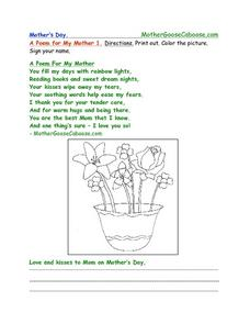 Mother's Day --  A Poem for My Mother 1 Worksheet