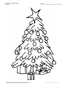 Christmas Tree Coloring Page Worksheet