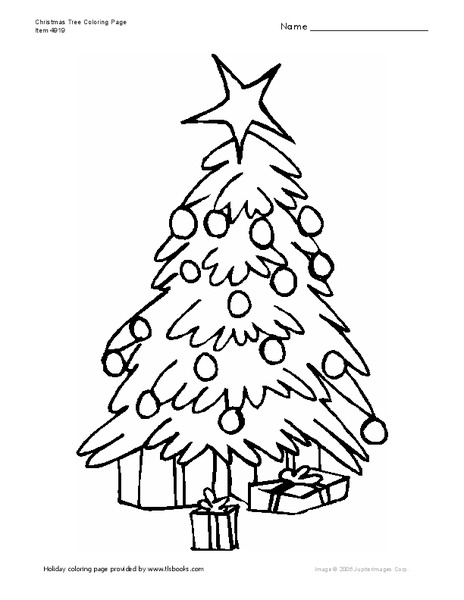 Christmas Tree Coloring Page Worksheet for Kindergarten
