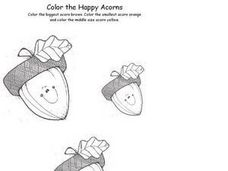 Color the Happy Acorns Worksheet
