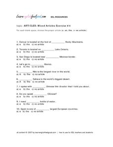 Articles: Mixed Articles Exercise #4 Lesson Plan