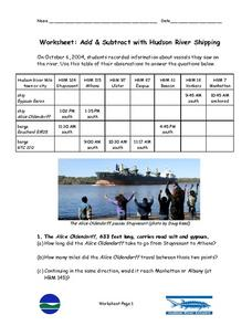 Add & Subtract with Hudson River Shipping Worksheet
