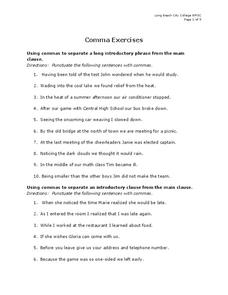 Comma Exercises Worksheet