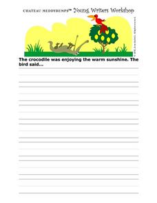 Young Writer's Workshop Writing Prompt Worksheet- The Crocodile and the Bird Worksheet