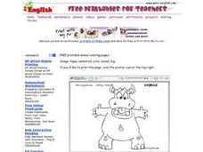 Drawing of a Hippopotamus Worksheet