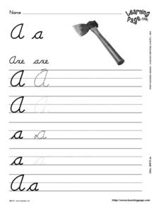 Cursive Writing Practice- Aa Worksheet