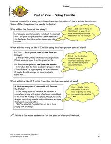 Point of View-- Picking Favorites Lesson Plan