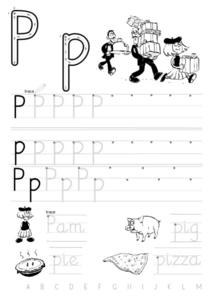 Printing Practice-- Upper And Lower Case Pp With Words Worksheet