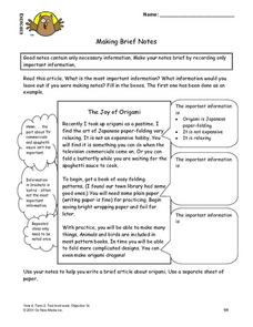 Making Brief Notes Lesson Plan