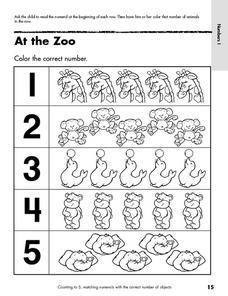 At the Zoo- Color the Correct Number Worksheet Lesson Plan