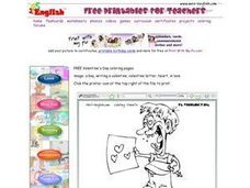 Valentine's Day Coloring: Boy With Card Worksheet