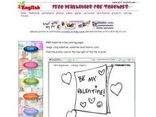 Valentine's Day Coloring: Be My Valentine Worksheet