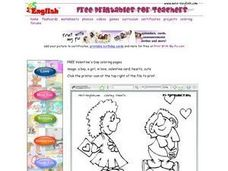 Valentine's Day Coloring: In Love Worksheet