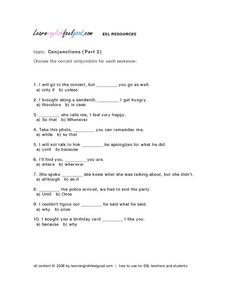 Conjunctions (Part 2) Lesson Plan
