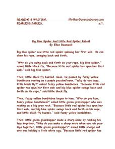 Big Blue Spider and Little Red Spider Retold Worksheet