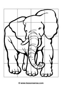 Drawing an Elephant--  Grid System Worksheet