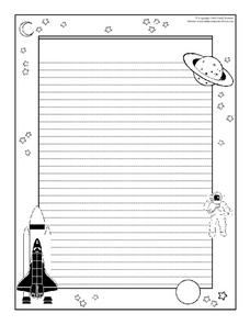 Space Travel Writing Paper Worksheet