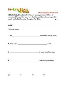 Brain Teasers--- Homonyms Worksheet