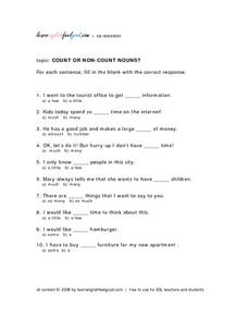 Count Or Non-Count Nouns? Lesson Plan