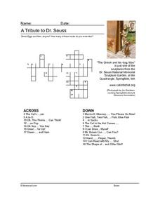 A Tribute to Dr. Seuss Crossword Puzzle Worksheet