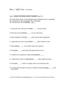Count Or Non-Count Nouns? (Part 5) Lesson Plan