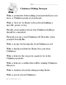 Christmas Writing Prompts Worksheet