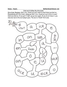 Vowels Game Worksheet