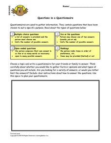 Questions in a Questionnaire Worksheet