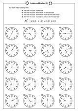 Later and Earlier Worksheet