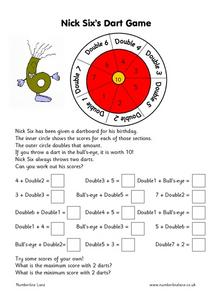 Nick Six's Dart Game Worksheet