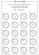 24 hour clock Worksheet