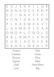Christopher Columbus Word Search Worksheet