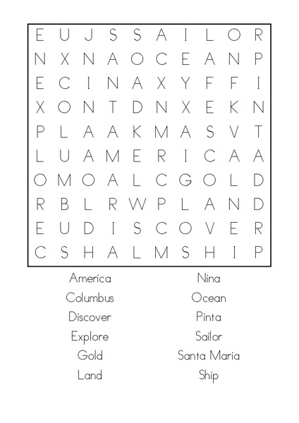 Columbus Day Wordsearch : Printables for Kids – free word ...