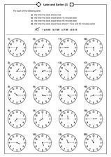 Later And Earlier 2 Worksheet