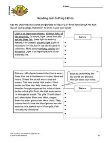 Reading and Jotting Notes Lesson Plan