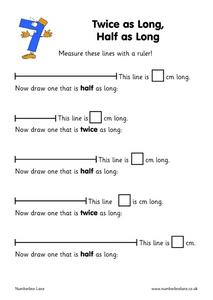 Twice as Long, Half as Long Worksheet