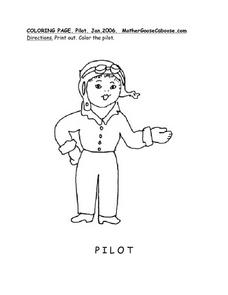Pilot Drawing-- Old Fashioned Female Pilot Worksheet