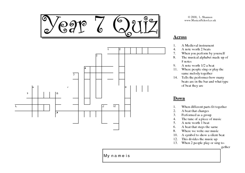 Music Terms Puzzle Worksheet