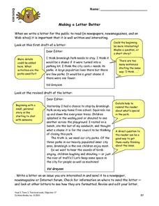 Making a Letter Better Lesson Plan