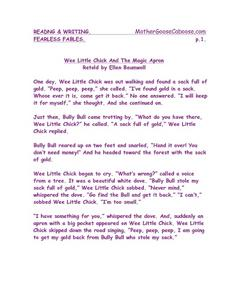 Fearless Fables: Wee Little Chick And the Magic Apron Worksheet