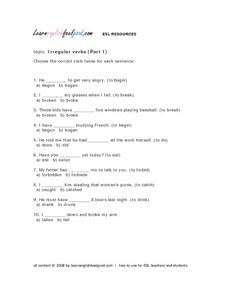 Irregular Verbs (Part 1) Lesson Plan