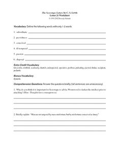 The Screwtape Letter by C.S. Lewis Worksheet
