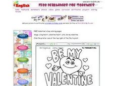 Valentine's Day Card Worksheet