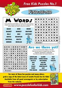 "Two Word Searches: ""M"" Words And Transportation Worksheet"