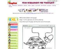 Turtle And the Letter T Worksheet