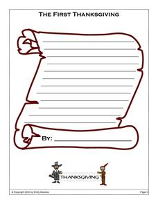 The First Thanksgiving Blank Scroll Printables & Template